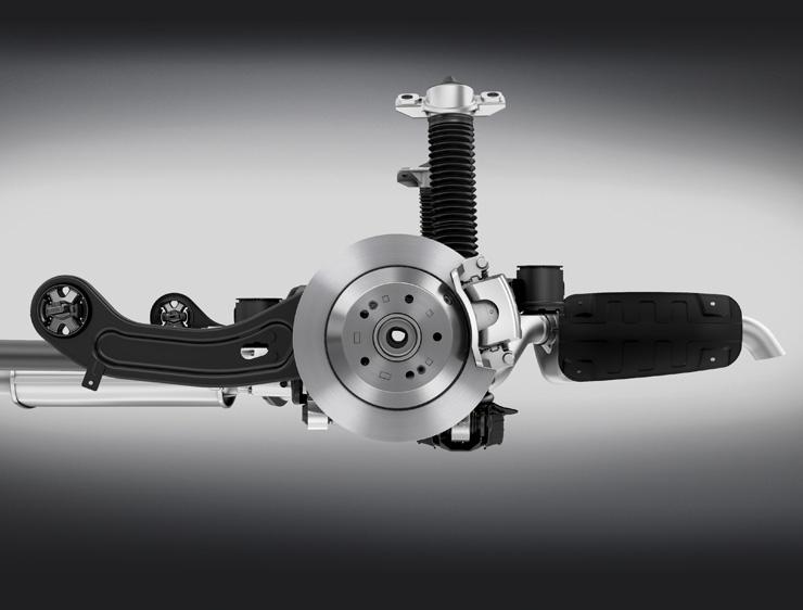 Upright rear shock-absorber